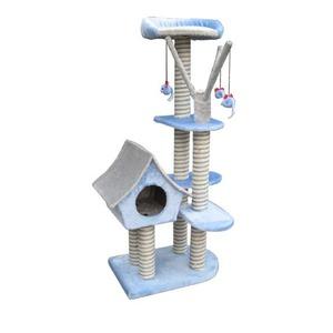 Фотография товара Домик-когтеточка для кошек Fauna International Sagrada, размер 54х36х128см., голубой