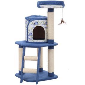 Фотография товара Игровая площадка для кошек с когтеточками Fauna International FLORAL PROM, размер 50х50х107см., голубой