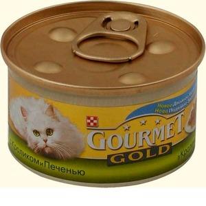 Фотография товара Корм для кошек Gourmet Gold, 85 г, кролик и печень