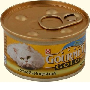 Фотография товара Корм для кошек Gourmet Gold, 85 г, утка с индейкой