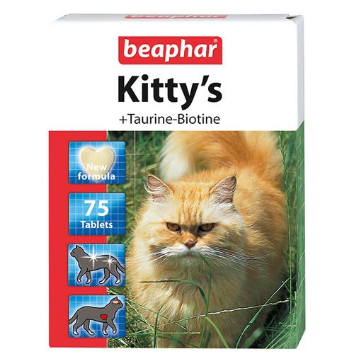 Витамины для кошек Beaphar Kitty's + Taurine-Biotine, Таурин и биотин, 75 шт.