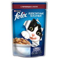 Фотография товара Корм для кошек Felix Аппетитные кусочки, 85 г, Печень