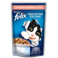 Фотография товара Корм для кошек Felix Аппетитные кусочки, 85 г, лосось с цукини