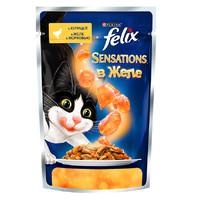 Фотография товара Влажный корм для кошек Felix Sensations, 85 г, курица с морковью