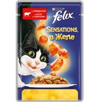 Фотография товара Влажный корм для кошек Felix Sensations, 85 г, говядина с томатами