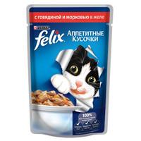 Фотография товара Корм для кошек Felix Аппетитные кусочки, 85 г, Говядина с морковью