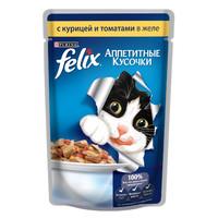 Фотография товара Корм для кошек Felix Аппетитные кусочки, 85 г, курица с томатами