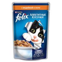 Фотография товара Корм для кошек Felix Аппетитные кусочки, 85 г, индейка