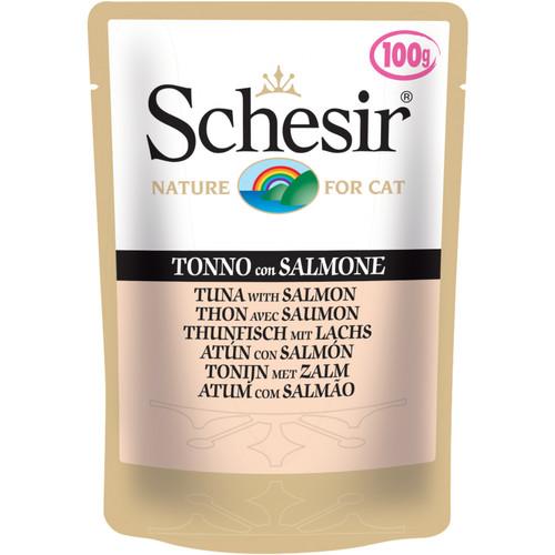 Корм для кошек Schesir, 100 г, тунец, лосось