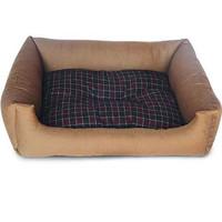 Фотография товара Лежак для собак Triol, размер 65x51x18см., коричневый/клетка
